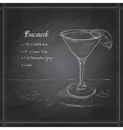 coctail bacardi on black board vector image vector image