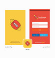 company rugby ball splash screen and login page vector image vector image