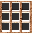 cork board with photo cards and color pin vector image vector image