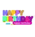 creative of happy birthday word lettering vector image