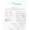 creative simple cv template with grey plus signs vector image vector image