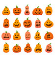 creepy halloween pumpkins cartoon orange pumpkin vector image