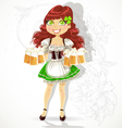 Cute girl with glasses of beer vector image vector image