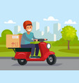 delivery man riding red motor bike vector image