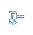 digital castle logo vector image