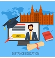 DISTANCE ONLINE EDUCATION CONCEPT vector image