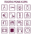 doodle home icons vector image