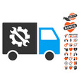 equipment truck icon with dating bonus vector image vector image