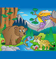 forest scene with various animals 9 vector image
