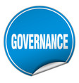 governance round blue sticker isolated on white vector image vector image