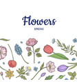 Hand drawn flowers background banner poster
