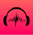 headphones icon with sound wave beats vector image vector image