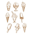 Ice cream desserts sketches set vector image vector image