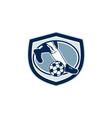 Leg Foot Kicking Soccer Ball Shield Retro vector image vector image