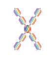 Letter X made in rainbow colors vector image