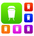 litter waste bin set color collection vector image vector image