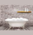 luxury vintage bathtub with soap foam in bathroom vector image vector image
