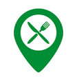 map marker location with fork and knife vector image vector image