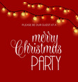 merry christmas party lights glowing on red vector image vector image