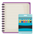 notebook school supply with colors pencils vector image