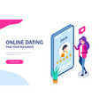 online dating concept young girl evaluates the vector image vector image
