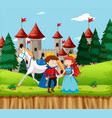 princess and prince at castle vector image vector image