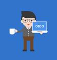 programmer cute character professional set flat vector image