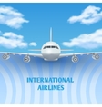 Realistic plane aircraft airplane in sky with vector image vector image