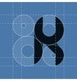Round engineering font Symbol K vector image vector image