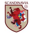 scandinavian design heraldic shield a wolf on a vector image vector image