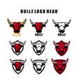 set bull head mascot buffalo logo vector image vector image