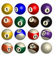 Set of pool balls in 3D vector image