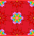 tender fabric pattern floral red orange and blue vector image