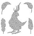 a bird in zentangl style vector image vector image