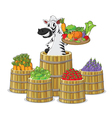 a zebra and vegetables vector image