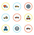 auto icons colored line set with wheel station vector image vector image