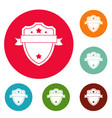badge warrior icons circle set vector image vector image