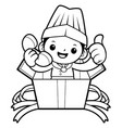 black and white happy cook mascot call in the box vector image vector image