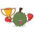 boxing winner durian mascot cartoon style vector image vector image
