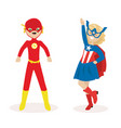 boy and a girl in masks and suits of super heroes vector image vector image
