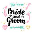 bride and groom handwritten postcard vector image