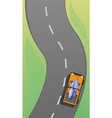 Car driving to surfing concept banner cartoon