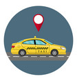 car taxi in flat style view from side taxi yellow vector image