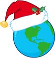 Cartoon earth with santa hat vector image vector image