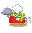 chef with food santa sleigh with christmas vector image