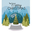 christmas pine tree in sphere and snowscape vector image vector image