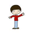 comic cartoon happy waving boy vector image vector image