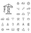 construction outline thin flat digital icon set vector image