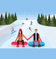 couple sledding on snow rubber tube over vector image vector image