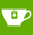 cup with teabag icon green vector image vector image